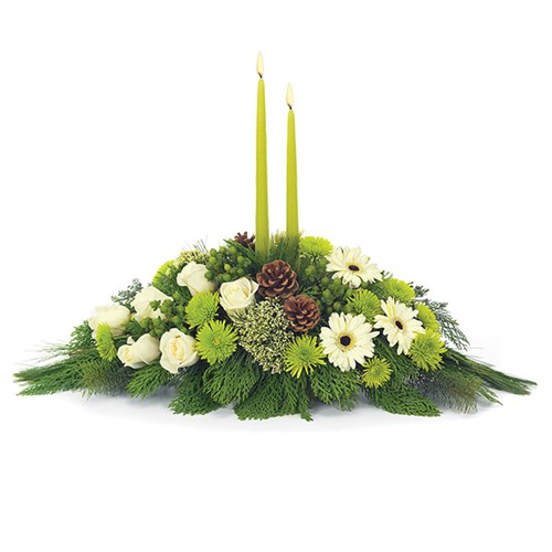Winter Solstice Centerpiece of flowers for sale